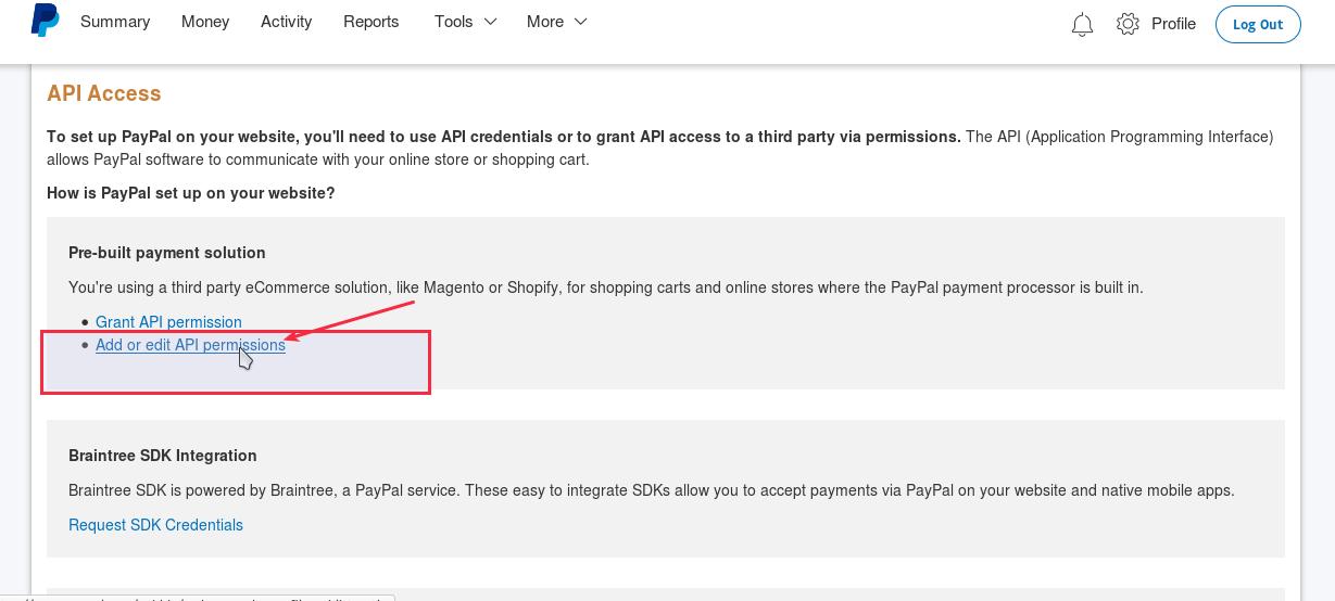 Paypal Add or Edit API Permissions